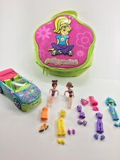 Polly Pocket Doll Lot , Carrying Case~ Clothes , 2 Dolls , Car