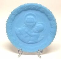 VINTAGE, FENTON BLUE SATIN MILK GLASS, MOTHERS DAY 1973, LIMITED EDITION PLATE
