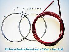 Kit Freno Guaina Rosso Laser + 2 Cavi + Terminali per bici 26-28 Corsa Vintage