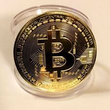 Novelty Gift! Gold Plated Physical Bitcoin in Protective Acrylic Case Cover