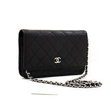 z63 CHANEL Authentic Black Wallet On Chain WOC Shoulder Bag Crossbody Lambskin