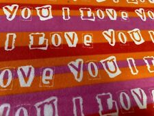 "Flannel Fabric - ""I Love You"" Remnants   1 yard plus many pieces"