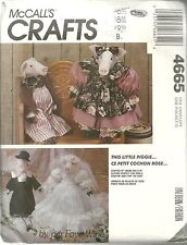 McCALL'S CRAFTS 4665 NEW AND UNCUT PATTERNS 1990 STUFFED PIG DOLL AND CLOTHES