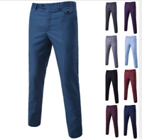 Mens Slim Fit Tuxedo Pants Formal Wedding Dress Suit Pants Casual Trousers XF001