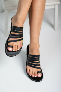 Ancient Greek style real black leather sandals handmade slide strappy thong