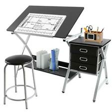 Silver Black Drafting Table Art & Craft Drawing Station Desk W  Stool &