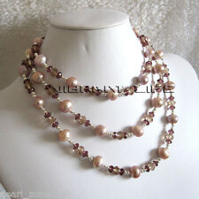 "50"" 4-12mm Lavender Freshwater Pearl Crystal Necklace AC"