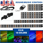 Motorcycle Multi-color 18 Colors RGB LED Strip Light Music Sensor- 12PCS Kit US