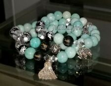 Argent Sterling Éléphant Gland Turquoise Amazonite Pierre Yoga Mala Bracelet