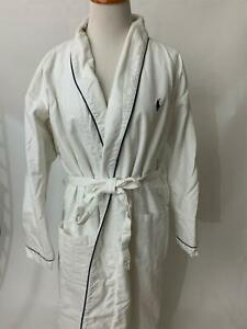 POLO RALPH LAUREN white cotton terry cloth lined ROBE One Size