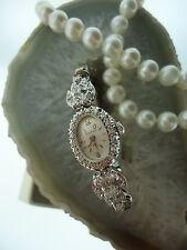 Vintage Deco 14kt White Gold 1.00 ct Diamond Bulova Manual Wind Watch 17Jewels