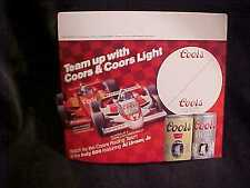 "COORS BEER ""TEAM UP WITH..INDY 500 AL UNSER"" PRICE TAG W/STICKER TOP (2)"