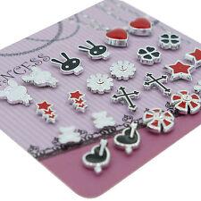 Black White Red Color Enamel Magnetic Studs Earrings for Teen Girls Kids Womens