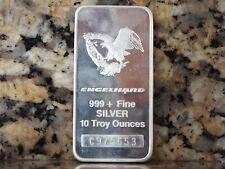 """ENGELHARD Ten (10) Troy Ounces """"Flying Eagle"""" 999+  Silver Bar!"""