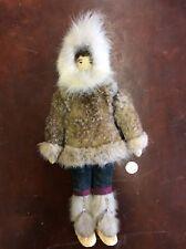 "Vintage Hand Made Embroidered Face Real Fur & Leather 11"" Alaska Eskimo Doll"