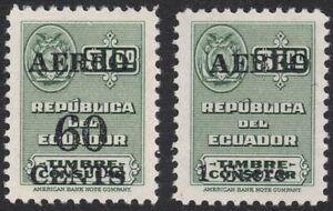 "1952 Ecuador SC# C233-C234 - Consular Services Stamps Surcharged ""AEREO"" - M-H"