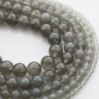 Wholesale Natural Gray Agate Gemstone Round Beads 15.5'' 4mm 6mm 8mm 10mm 12mm