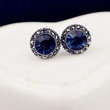 Beauty Women Circle Sky Blue Shiny Sapphire Crystal Rhinestone Ear Stud Earrings