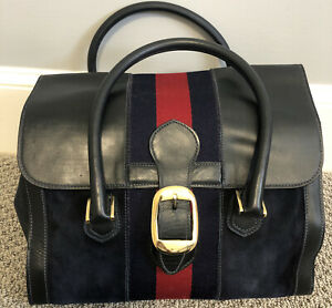 Rare!! Vintage 60's Large  Gucci Navy Top Handle  Handbag Red Stripe GHW