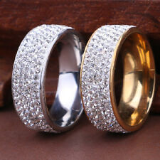 Sz8-10 Crystal Stainless Steel Ring Men/Women's Wedding Band Rings Gold Silver