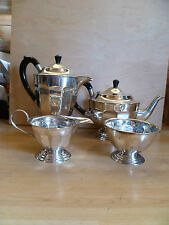 VINTAGE, 4 PIECE SILVER PLATED TEA / COFFEE SET, WITH BLACK BAKELITE HANDLES