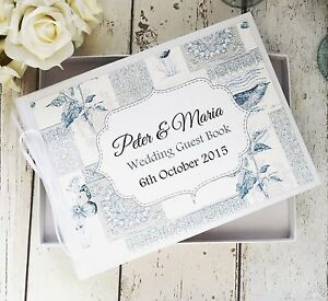 PERSONALISED WEDDING GUEST BOOK IN BOX ~ VINTAGE PATCHWORK BIRD BUTTERFLY DECOR