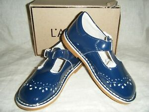 New L'AMOUR Shoes Girls Navy Blue Patent Leather Mary Jane T Strap in Box F-410