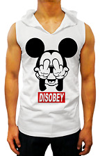 NEW MENS T SHIRT MICKEY MOUSE DISOBEY HOODED SINGLET CASUAL FASHION MUSCLE SLIM