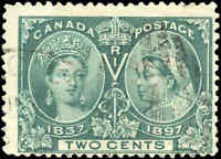 1897 Used Canada F Scott #52 2c Diamond Jubilee Issue Stamp