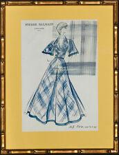 """Pierre Balmain Couture- #107 New Orleans Watercolour Fashion Plate"""