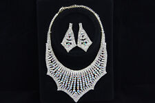 Wedding Crystal Rhinestone Earrings Necklace Set Prom Party Bridal Bridesmaid