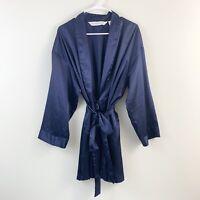 Victorias Secret Navy Blue Satin Tie Waist Robe Womens One Size