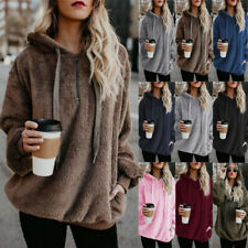 UK Size 6-24 Hoodie Furry Sweatshirt Tops Blouse Jacket Teddy Bear Winter Loose