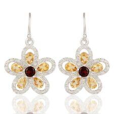 Citrine, Garnet, White Topaz Silver Gemstone Dangle Earring Imitation jewelry