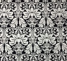 LACEFIELD DESIGNS CHARLOTTE BLACK FLORAL DAMASK BASKETWEAVE FABRIC BY THE YARD