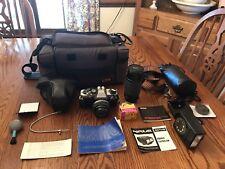 Olympus OM10 35mm Film Camera Bundle With Case, Manual, & Vivitar 75-200mm Lens