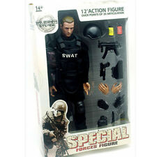 "1/6 Soldier Action Figure 12"" SWAT Black Uniform Model Toy Military Army Suit CN"