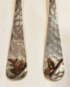 Set/6 Sterling Forks Dominick & Haff Arts Crafts Mixed Metal Aesthetic Movement