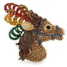 Multicoloured Austrian Crystal Circus Horse Head Brooch/ Pendant In Gold Tone -