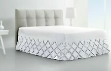 Fitted Valance Sheet Cream Charcoal Pintuck Bedding Double Single Super King