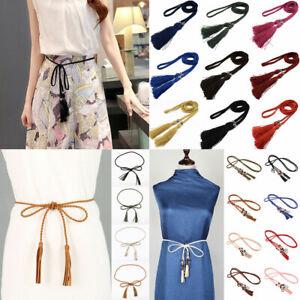 Tassel Belt Women Thin Waist Rope Belt Ladies Braided Self Tie Belts Bow Chain