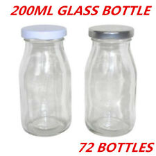 Mini Small Glass Milk Juice Candy Bottle 200ml With Screw Top Silver White Lid W 36 Bottles