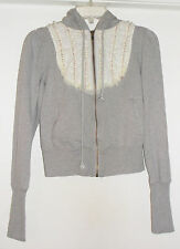Free People Zip Front Hoodie Lace Detail Long Sleeve Gray Cotton Women's Sz S