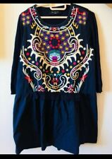 Embroidered  Navy Flare mini Dress / long top