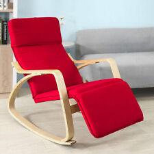 Poltrona a Dondolo Sedia Salotto Relax con Poggia Gambe Regolabile Rosso