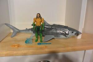 "🦑 Aquaman Movie 19"" Warrior Shark (w missiles) & Figure DC 2018 Mattel COMPLETE"