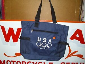 TOTE BAG,USA OLYMPICS,BLUE WITH WHITE EMBROIDERY,100% POLYESTER,MADE IN CHINA.#