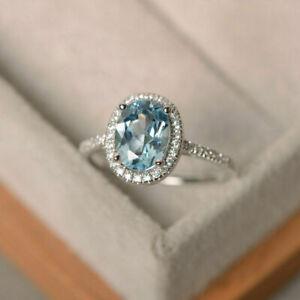 2Ct Oval Cut Aquamarine Diamond Halo Wedding Engagement Ring 14K White Gold Over
