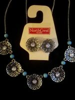 Western Silver & Rhinestone Pierced Earrings & Necklace Set Turquoise Beading