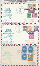 USA-AUSTRALIA BOAC 1967 1st FLIGHT, NY-SYDNEY 12 COVERS FOR ALL INTERMEDIATE LEG